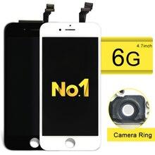 Класс ааа топ доставленных жк для iphone 6 экран с заменой дигитайзер ассамблеи белый черный цвет + держатель камеры