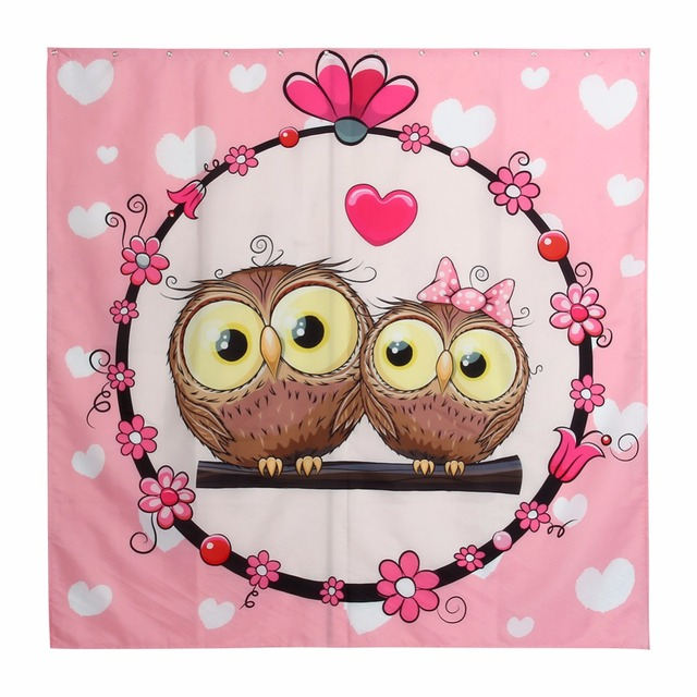 Hot Cartoon Owl Shower Curtain Printing Polyester Waterproof Bathroom  Fabric Bath Curtain With 12 Hooks 180*180cm