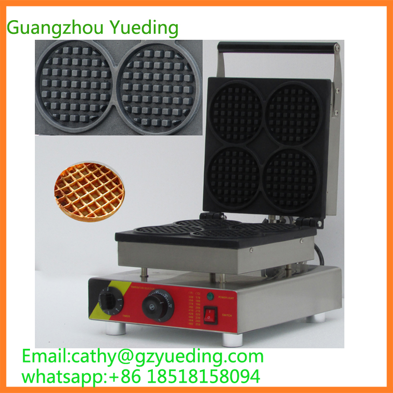 Commercial snack machine automatic electric round 4 egg cake waffle maker waffle cone maker