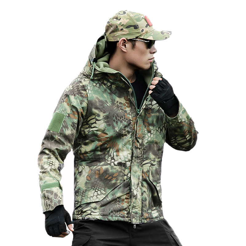Mens Army Military Tactical Camouflage Clothing Fashion Jacket Special Soldier Troops Waterproof Softshell Hooded Velvet Clothes lurker shark skin soft shell v4 military tactical jacket men waterproof windproof warm coat camouflage hooded camo army clothing