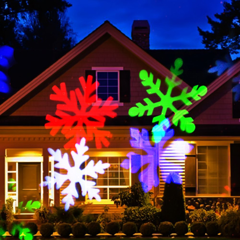 4 types colorful rotating christmas snowflake laser projector lights