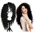 Amazing Long Kinky Curly Side Parting Lace Front Synthetic Hair Wigs With Baby Hair