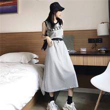 Tracksuit Sports Style Women 2 Two Piece Skirt Set Matching Sets Outfits Female Round Neck Letter Print Vest + Slit Skirts