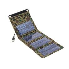 Portable 7 Вт Открытый Солнечные Панели Складной Отдых Путешествия Солнечное Зарядное Устройство Для Мобильного Планшета Комплекты USB Зарядка Аккумулятора Pack