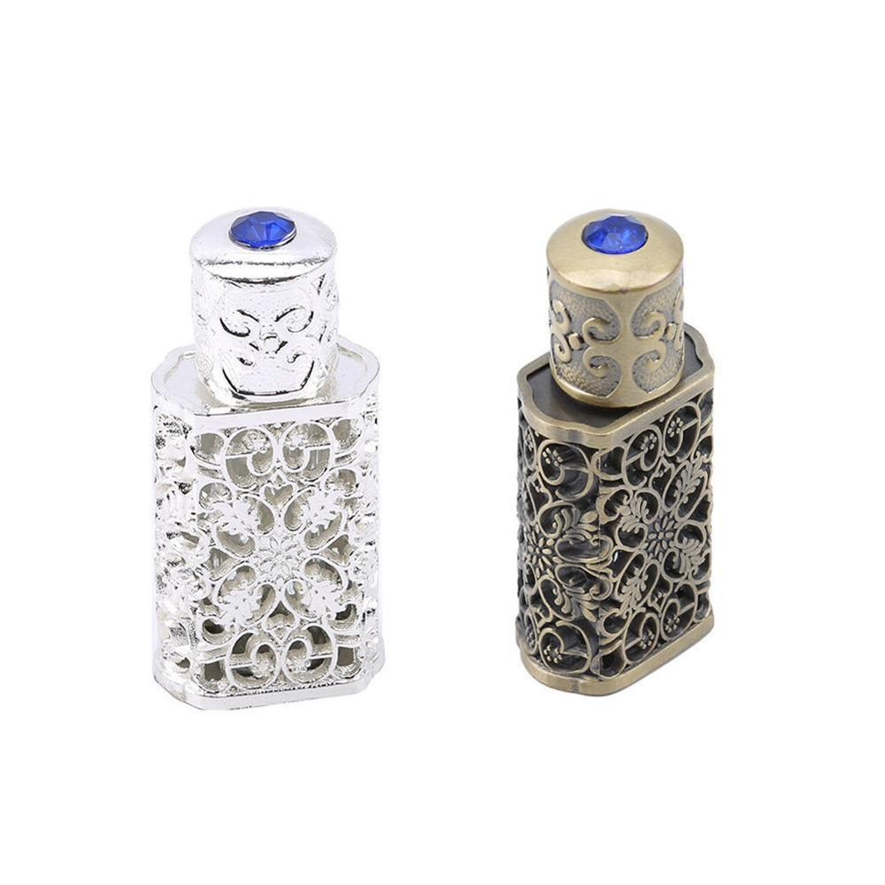 3ml Retro Metal Perfume Bottle Arabian Style Essential Oil Bottle Container Royal Glass Bottle Wedding Party Decoration Gift