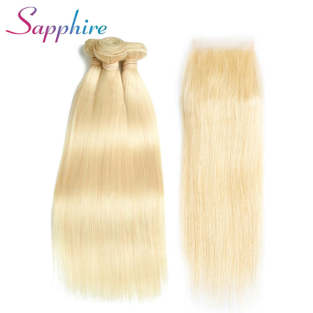 Sapphire Peruvian Remy-Hair Straight Hair Weave 3 Bundles With Closure 4*4 For Hair Sapphire 100% Human Hair For Black Woman