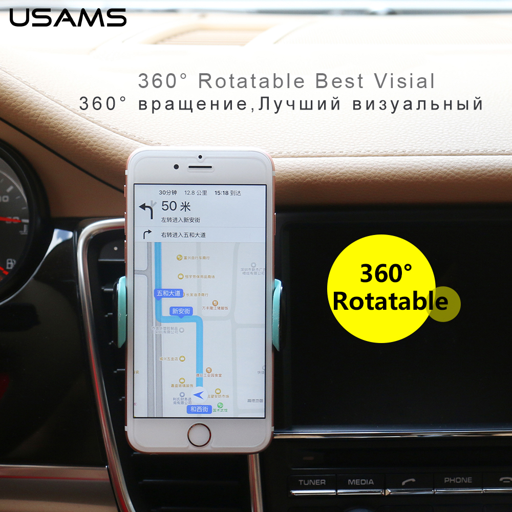 USAMS Car Phone Holder for Iphone 6 Sumsung Air Vent Mount Car Holder 360 Degree Ratotable Soporte Movil Mobile Car Phone Stand