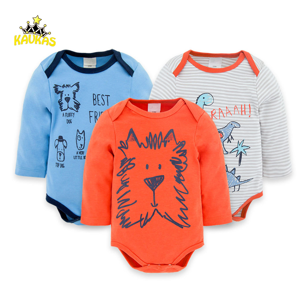 KAVAKS Baby Rompers Long Sleeve Lovely Dog Printing Jumpsuits Spring Newborn Baby Boy Clothes Mamelucos Bebes Body Suits Clothes