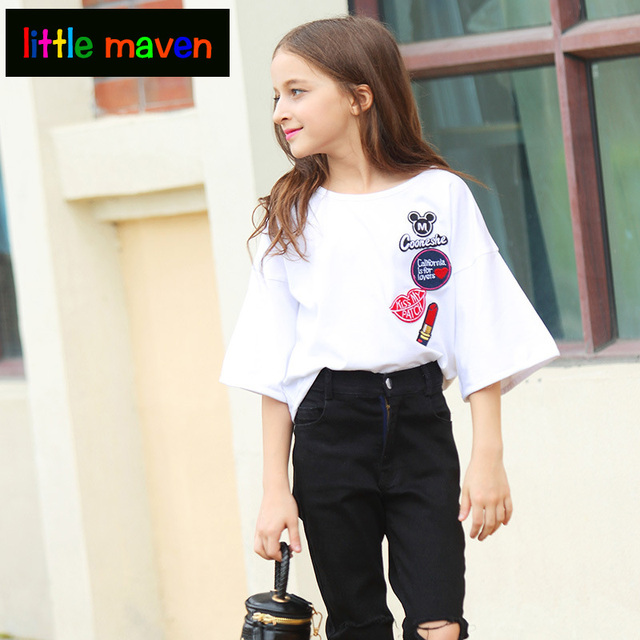 b63fcdd5cb1e Fashion T Shirt for Teen Girls Half Sleeves Cotton School Girls ...