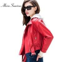 2017 Primavera Donne Giacca di Pelle Corto Faux Leather Coats Allentati A Duplice Uso Rimovibile Con Cappuccio Rosso Nero Con Cinghie UV106599