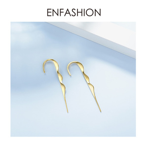 Image 4 - ENFASHION Punk Wave Simple Stud Earrings For Women Gold Color Statement Geometric Curve Earings Fashion Jewelry Oorbellen EC1070