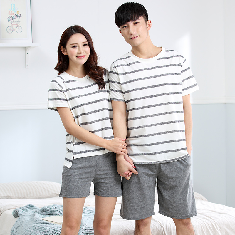 Plus Size M-4XL Couple Cotton Pajama Set Women And Mens Sleep Lounge Set Casual Summer Home Clothes