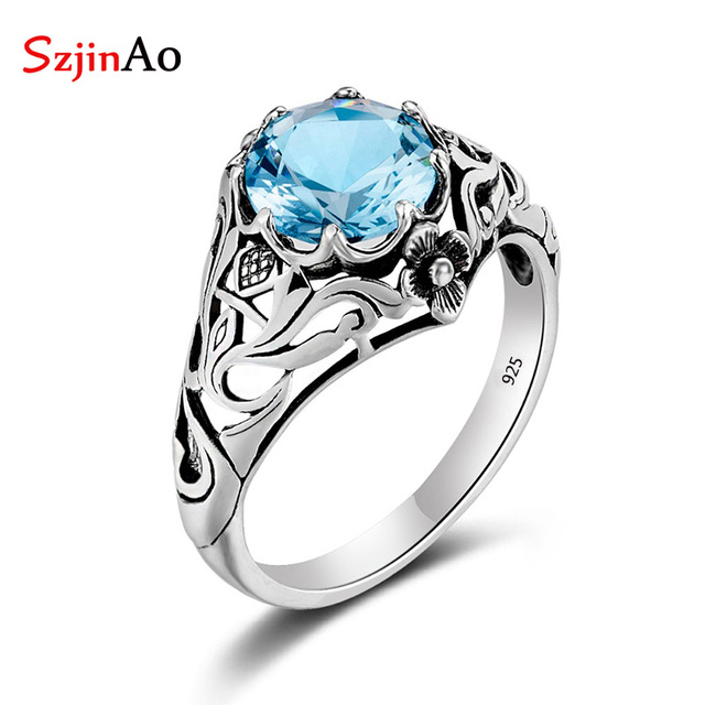 Szjinao Wholesale Punk High Quality 2.1ct Aquamarine 925 Sterling Silver Rings f