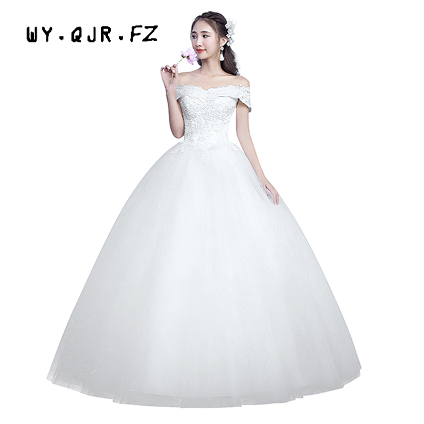LYG-H07#spring Winter 2019 New Lace Up Off Shoulder Wedding Dresses Plus Size Dress Custom Cheap Wholesale Organza With Embroide