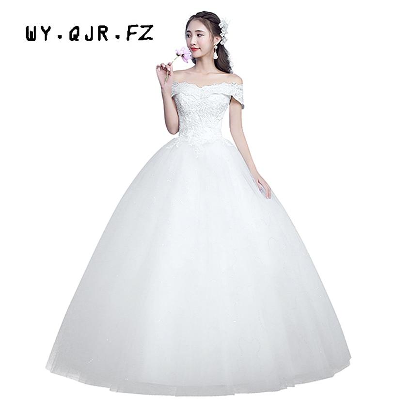 LYG H07 spring winter 2019 new lace up Off Shoulder wedding dresses plus size dress Custom