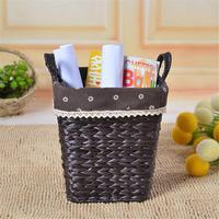 Storage Baskets Home Hand woven Straw Storage Basket Desktop Storage Box