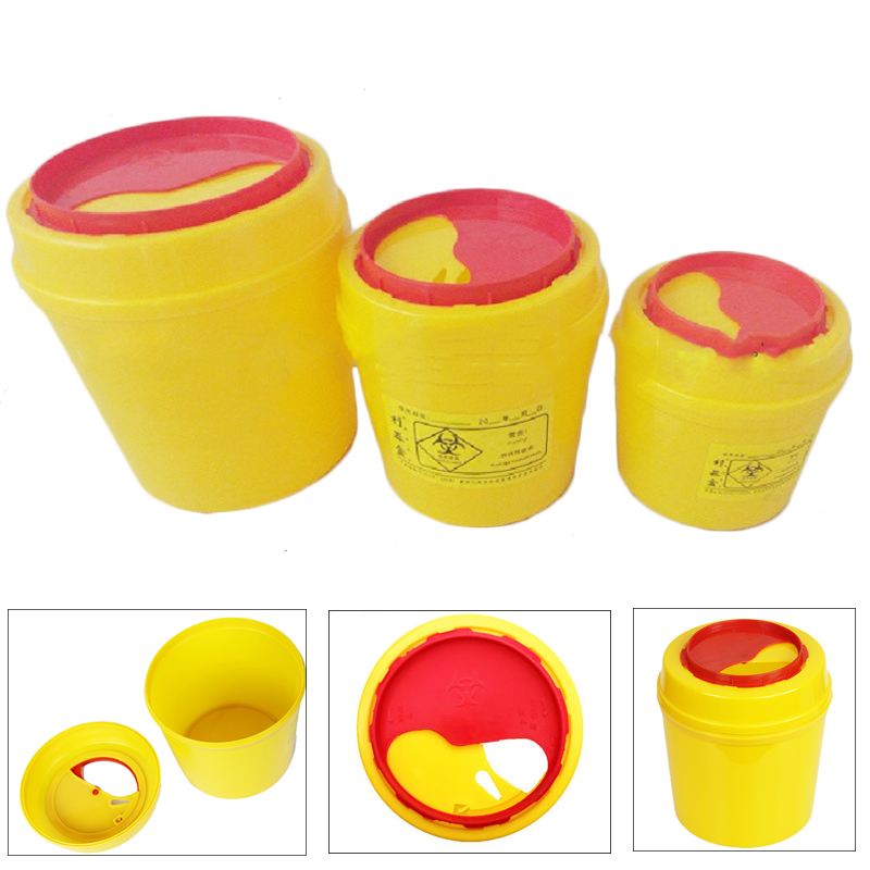 1/2/3L Round Sharps Container Disposable Dental Trash Can Yellow Medical Bin Biohazard Tattoo Needle Collect Waste Box Dustbin the trash pack individual series 2 trashie 267 stingle bin sects common