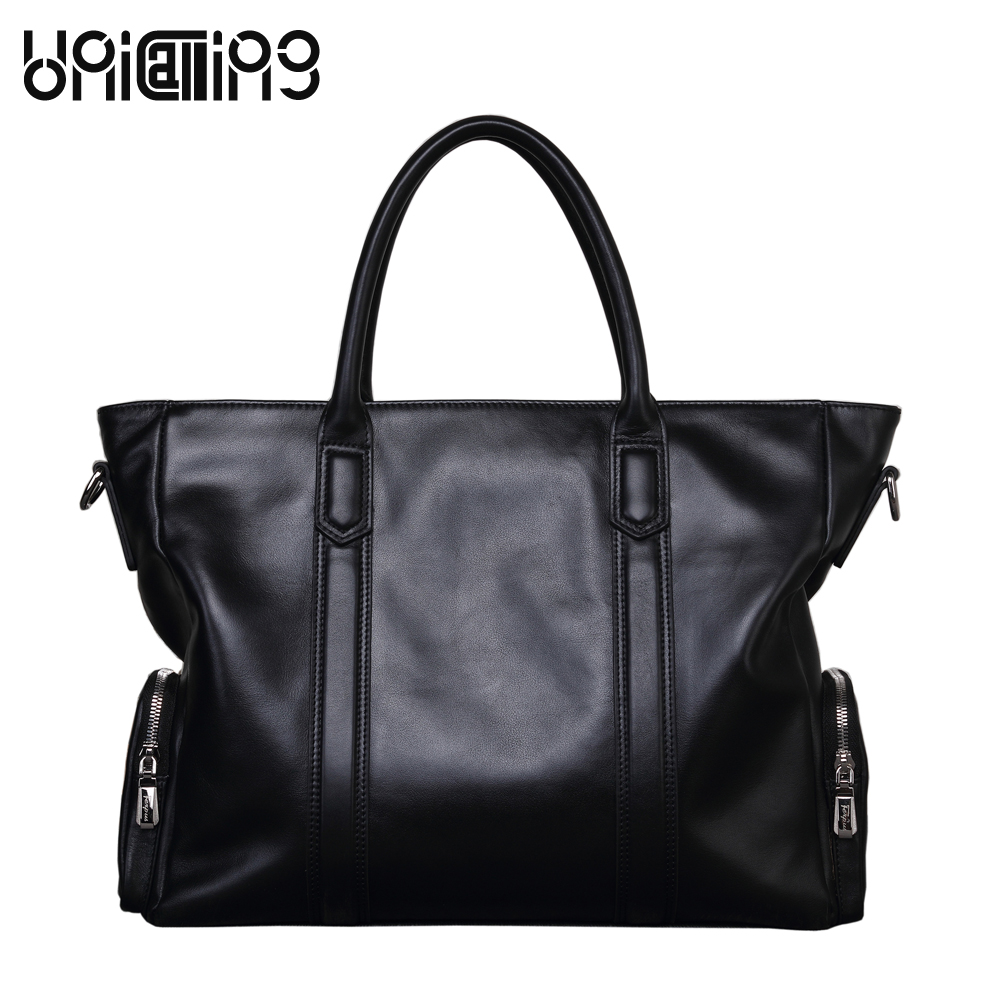 UNICALLING leather men bag large capacity genuine Leather male bag fashion brand premium quality men leather briefcase