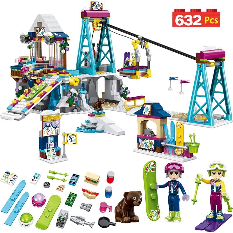 Building Blocks 632pcs Winter Sports Snow Resort Ski Lift Fit for Legoed Friends Bricks Princess Figures