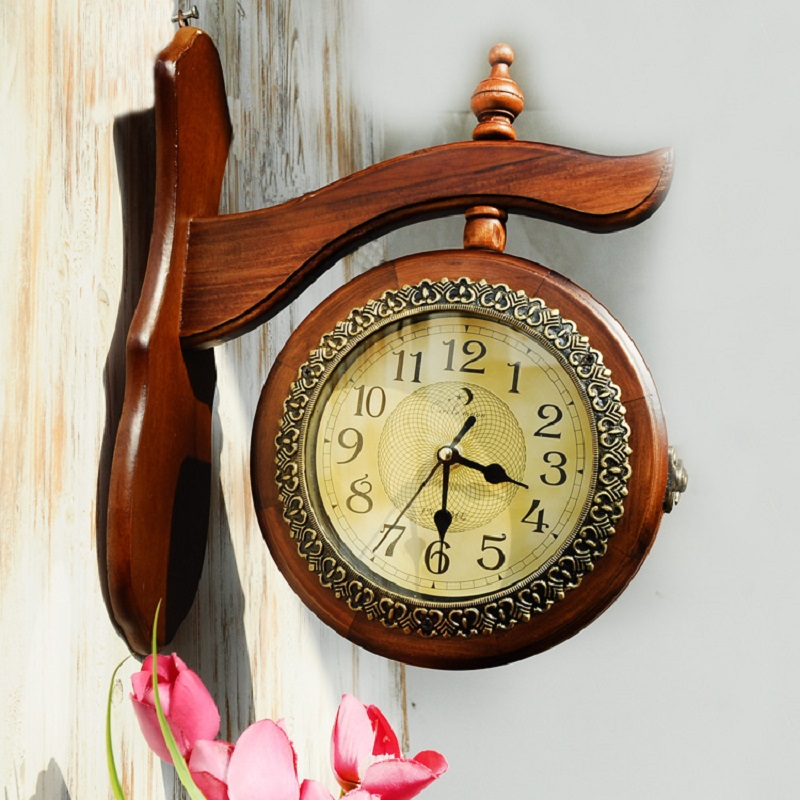 Double sided wood retro wall clock saat reloj relogio de - Relojes de pared retro ...
