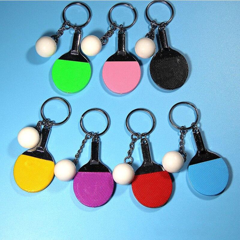 7 cores esporte tênis de mesa bola badminton bowling chaveiro chaveiro chaveiro chaveiro lembrança presente acessórios