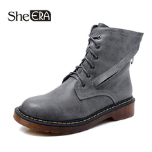 New Fashion Women Boots Retro Women Ankle Boots Gray/Black/Ochre Casual Lady Shoes Spring/Autumn/Winter Female Shoes She ERA