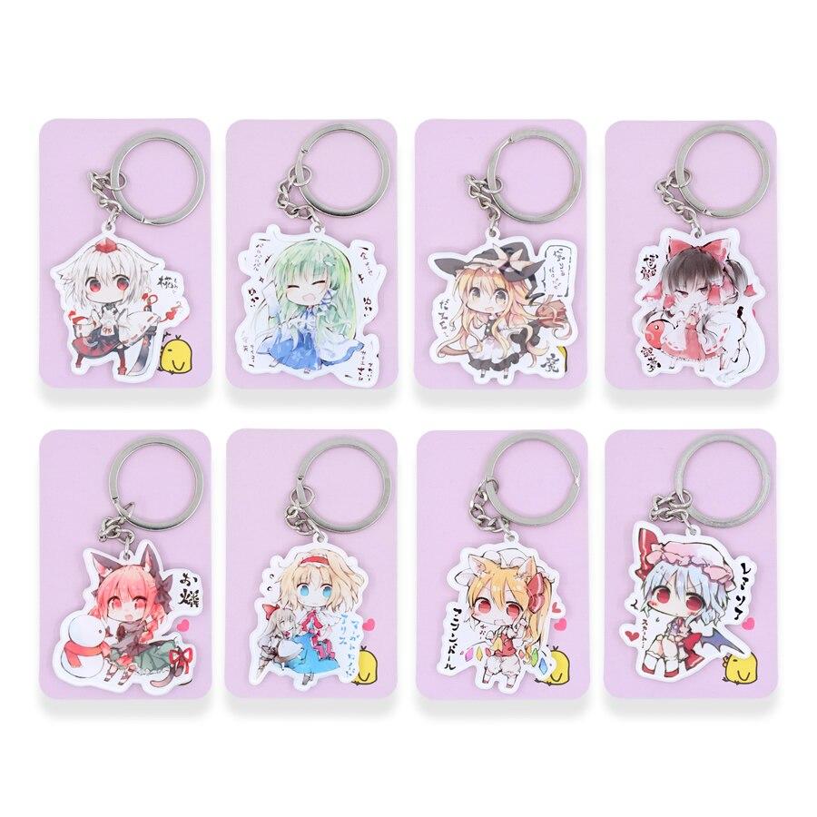 Touhou Project Keychain Hakurei Reimu Key Chain 11 Styles Hot Sale Custom made Anime Key Ring PSS286-296 anime touhou project flandre scarlet cosplay costume custom any size halloween