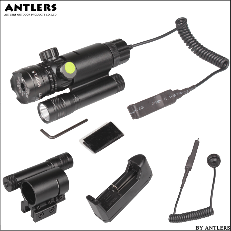Tactical Laser Pointer Mount Green Dot Laser Sight Rifle Hunting Scope 20mm With Torch Rail Barrel Pressure Switch Mount