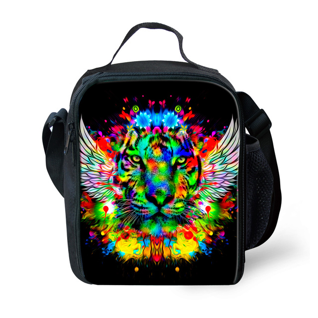 2017 Thermal Insulated Pouch Lunch Bags Animal Zoo Tiger Head Leopard Printed Lunch Box Portable Organizer Lunch Storage Bags
