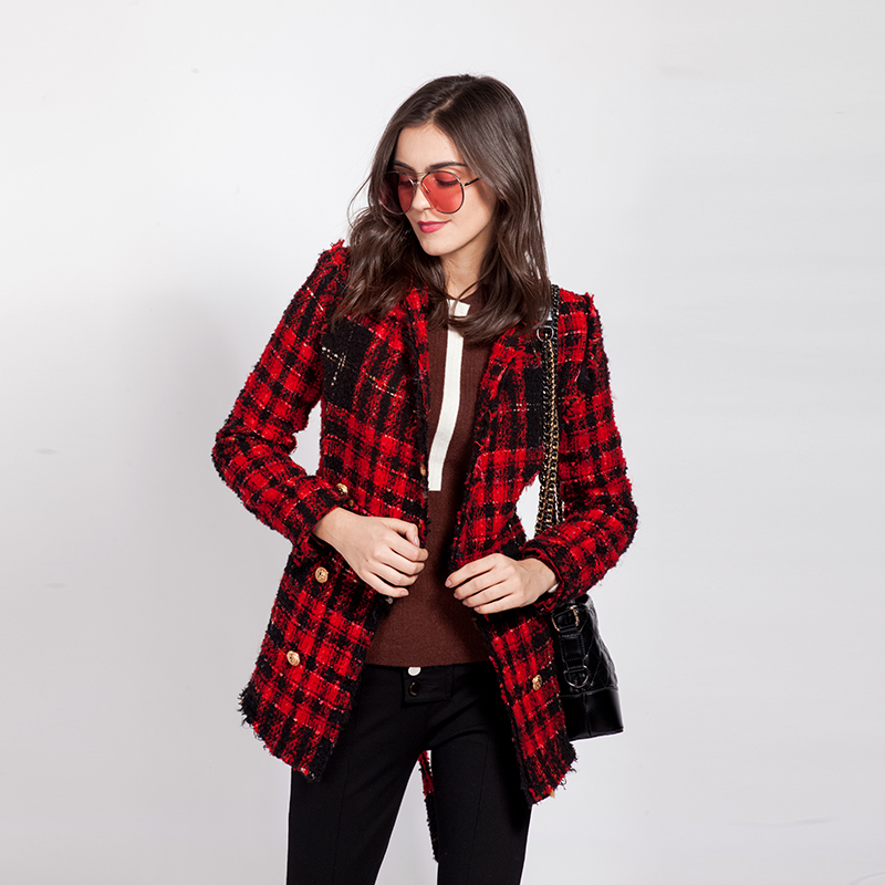 تويد دثار المرأة الأسد زر أحمر منقوشة الشيكات سترات معطف مزدوجة الصدر عالية الجودة الشتاء الأزياء-في السترات الأساسية من ملابس نسائية على  مجموعة 1