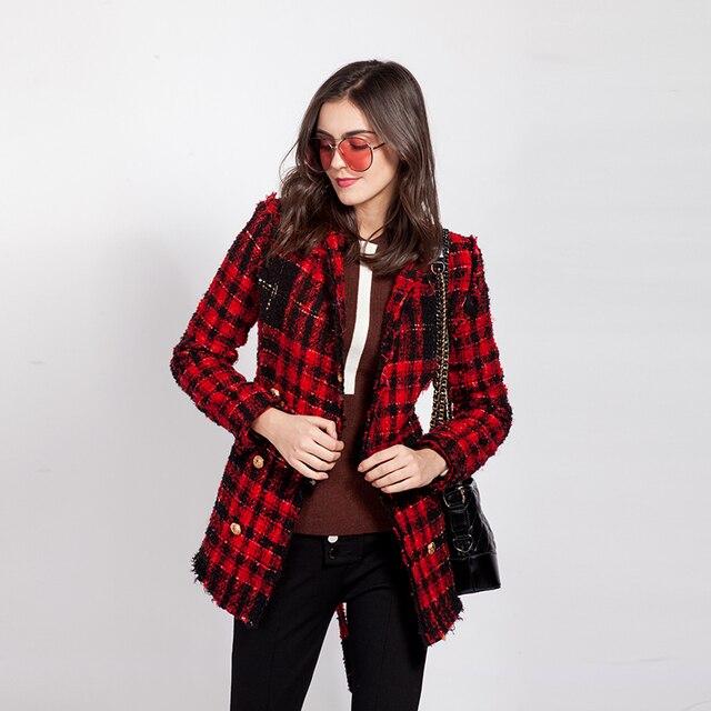 40c72111ea9 Твидовая куртка пальто женское Лев Кнопка красная клетчатая куртка пальто  двубортное высокое качество Зимняя мода