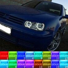 متعدد الألوان RGB LED عيون الملاك خاتم على شكل هالة العين DRL RF البعيد ل Volkswagen VW Golf MK4 R32 VR6 CABRIO A4 1998   2004 اكسسوارات