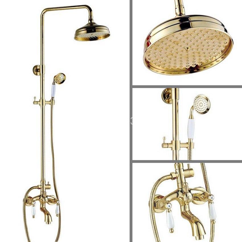 Gold Brass Ceramics Levers 8\