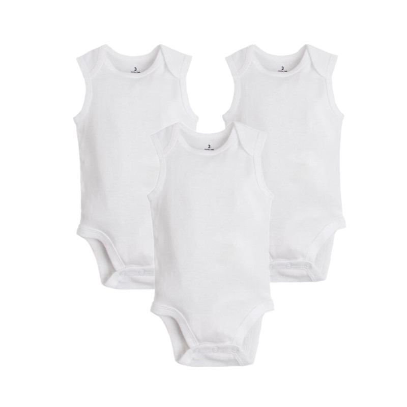 3pcs/lot 2018 Summer Pure Cotton White Baby Jumpsuits Soft Newborn Clothes Baby Girl Summer Clothes , One Piece Body For Babies