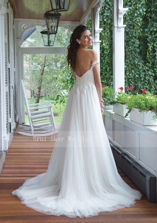 Image 4 - Backless Lace Wedding Dress Off the Shoulder A Line Gowns Appliques Bridal Dresses Button Back Tulle Dress-in Wedding Dresses from Weddings & Events