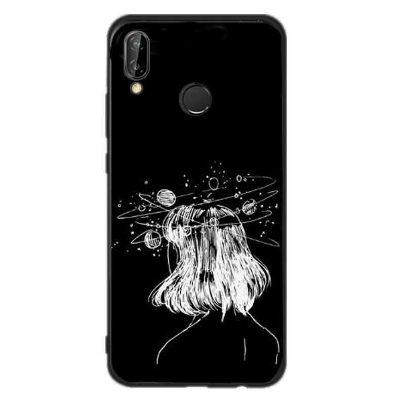 Caso de Huawei Mate 10 lite negro mujer chica para Huawei P20 P8 Lite 2017 P9 P10 lite mini P smart lindo Coque Accesorios