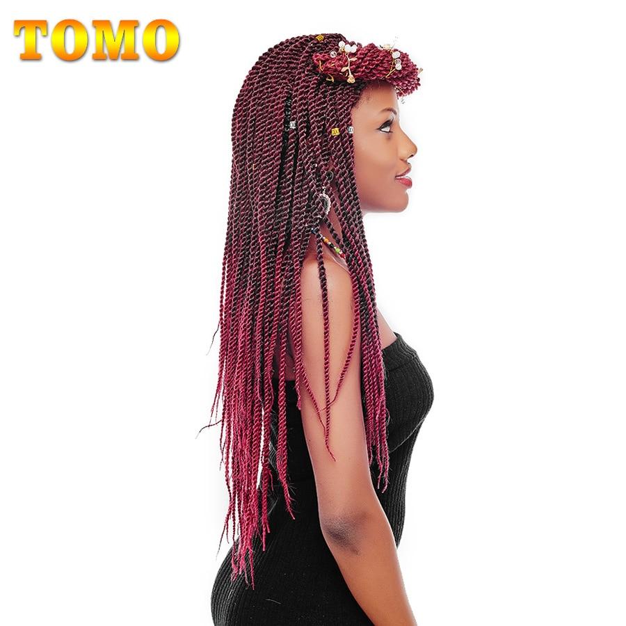 "TOMO Hair 30Roots 14"" 16"" 18"" 20"" 22"" Synthetic Jumpy Crochet Braids Ombre Kanekalon Senegalese Twist Braiding Hair Extensions"