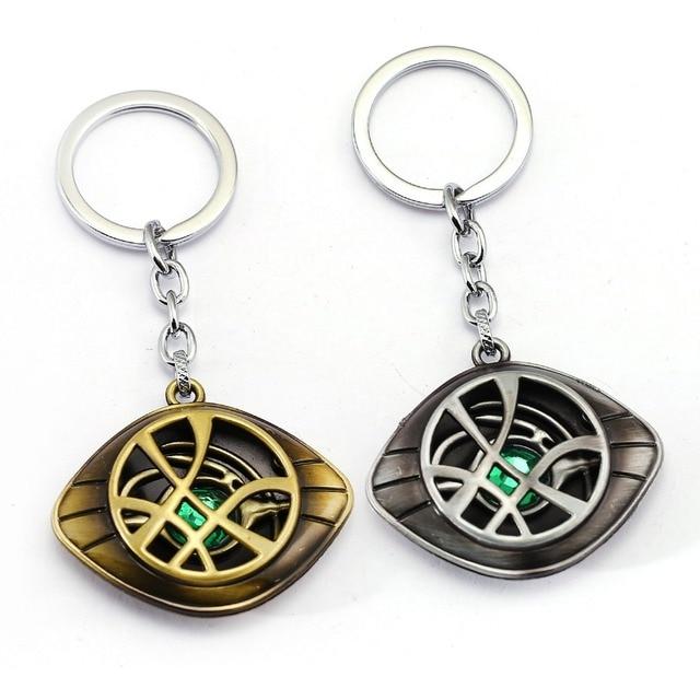 Doctor Strange Keychain Crystal Eye of Agamotto Key Chain Movie Key Ring Holder
