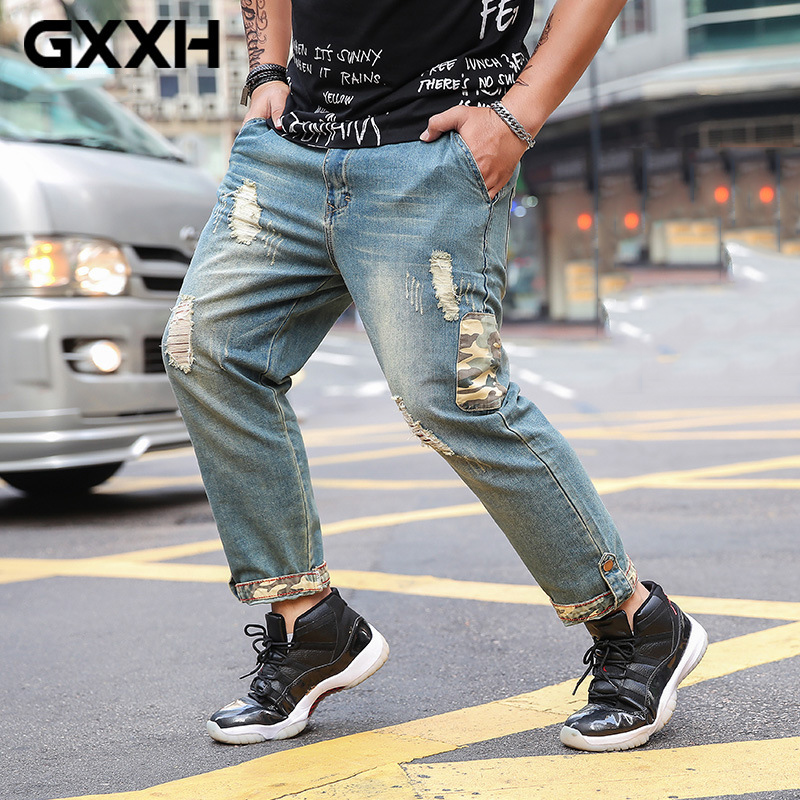 Large size Hole Men s Nine Jeans Spring and Summer Loose waist Elastic Leisure Blue Harem