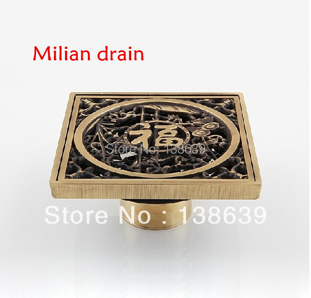 Free shipping Vintage Flower Carved Bathroom Bath Shower Drain Floor Trap Waste Grate With Strainer Cover D4 free shipping antique brass 12cm decorative floor waste drainer square flower carved shower drain waste grate cover