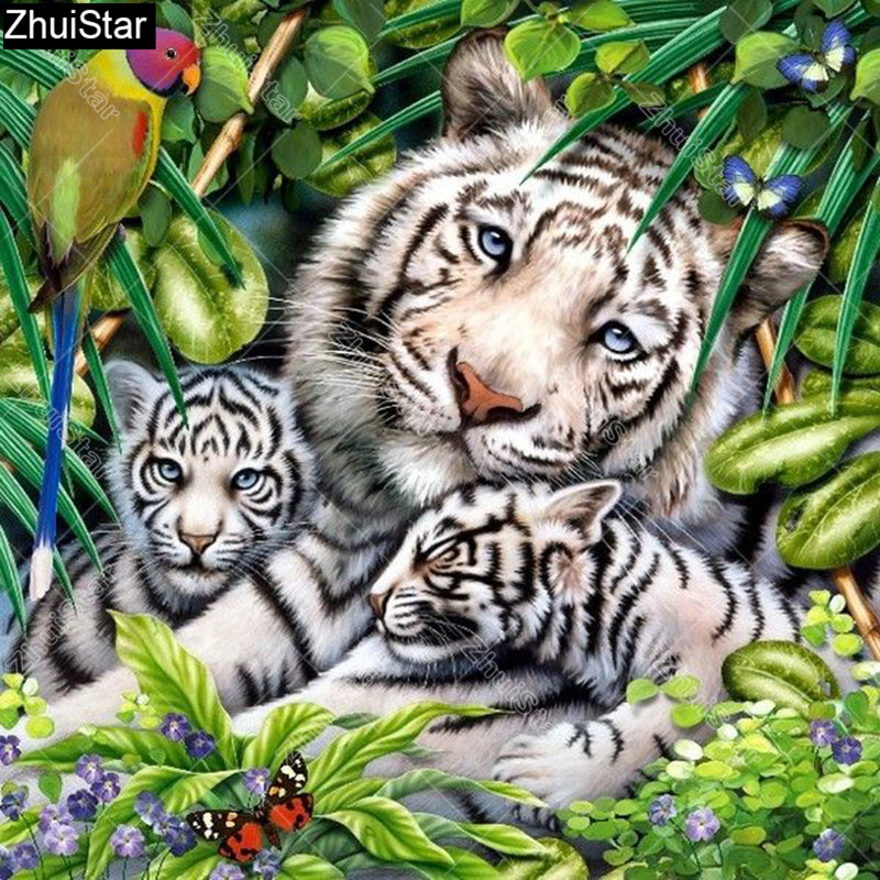 Full Square 5D DIY Diamond Painting Tiger family in the grass Embroidery Cross Stitch Mosaic Home Decor Gift