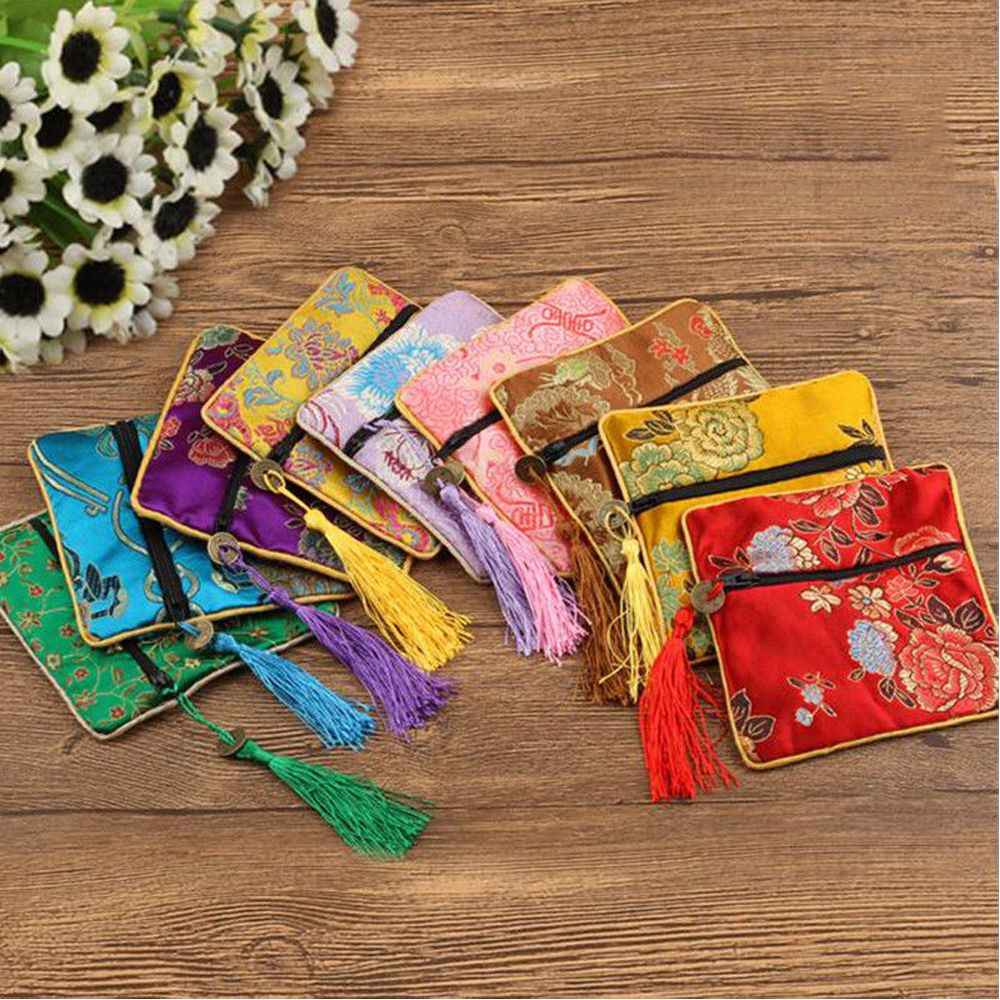 1pc Handmade Tassel Rectangle Zipper Gift Coin Purse Chinese Style Silk Brocade Jewelery Bag Trinket Comb Cosmetic Storage Pouch