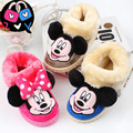 Fashion Anti-skid winter girls warm cartoon minnie shoes children 's burr home pantofole indoor slippers kids footwear 16N1103