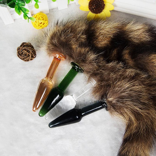 candiway Fox tail Glass anal plug furry fetish sex toy for woman,anal plug dog tails Slave cosplay submisson Cat beads sex shop