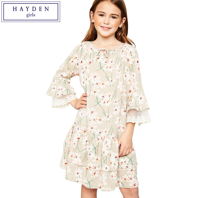 HAYDEN Girls Floral Dress Brand Girl Clothes Spring Summer 2018 New Teenage Girls Chiffon Dresses Size 7 to 14 Years Fashions girls dress lace to chiffon blooming flower tied waist 7 14