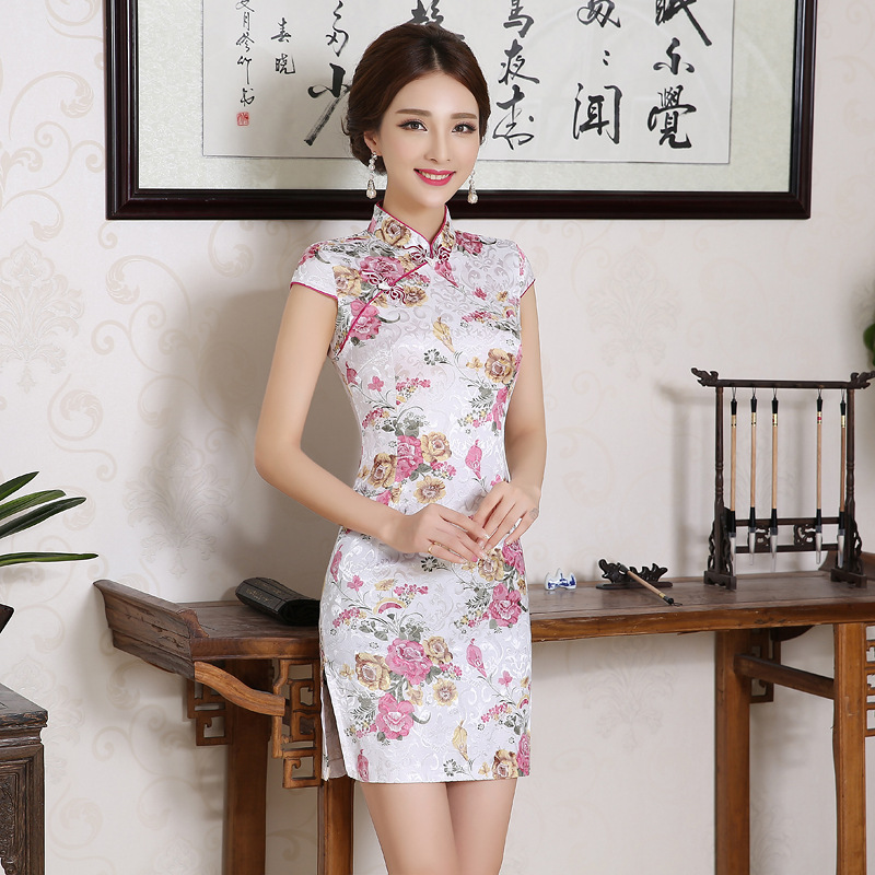 Umorden Women Chinese Traditional Clothes Dress Cheongsam Qi Pao Silk Embroidery Orchid Peony Flower Print Mini Short Cheongsams