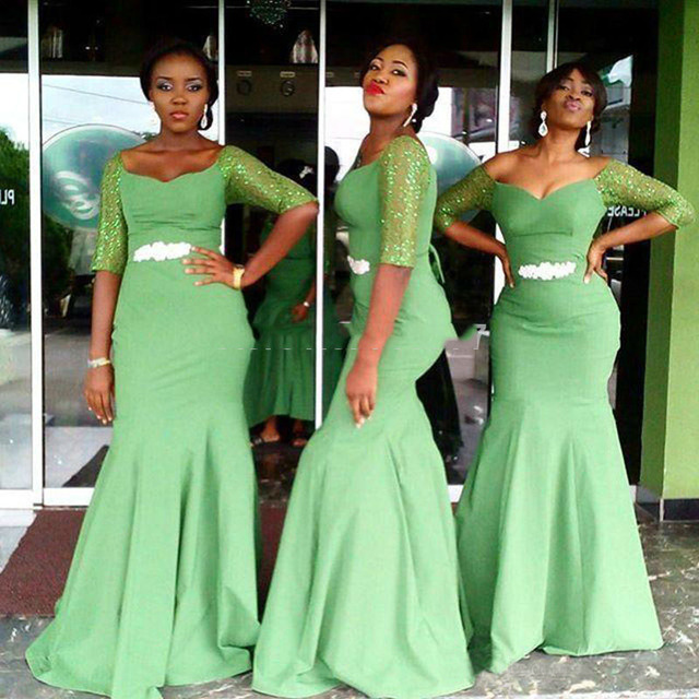 Nice Green Mermaid Bridesmaid Dresses Half Sleeve Off The Shoulder