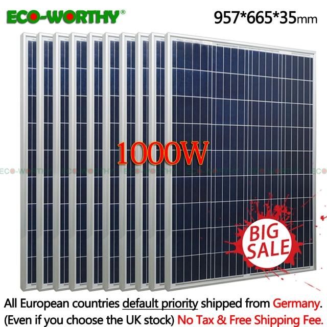 1kw 1000W 18V Polycrystalline 10pcs 100w Solar Panels for 12v Battery off Grid System Solar for Home solar panel solar System