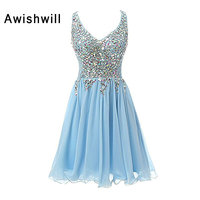 New Sexy Sleeveless Deep V Neck Party Dress Evening Gowns Beaded Rhinestone Chiffon Light Blue Short