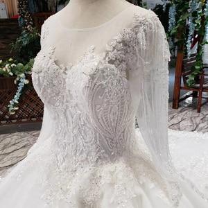 Image 5 - LS53710G lüks gelinlik uzun kollu o boyun aç geri balo elbisesi gelin giydirme abiye 2019 promosyon vestido de noiva